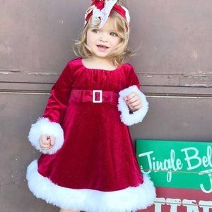 Newberry Velour Faux Fur Santa Dress